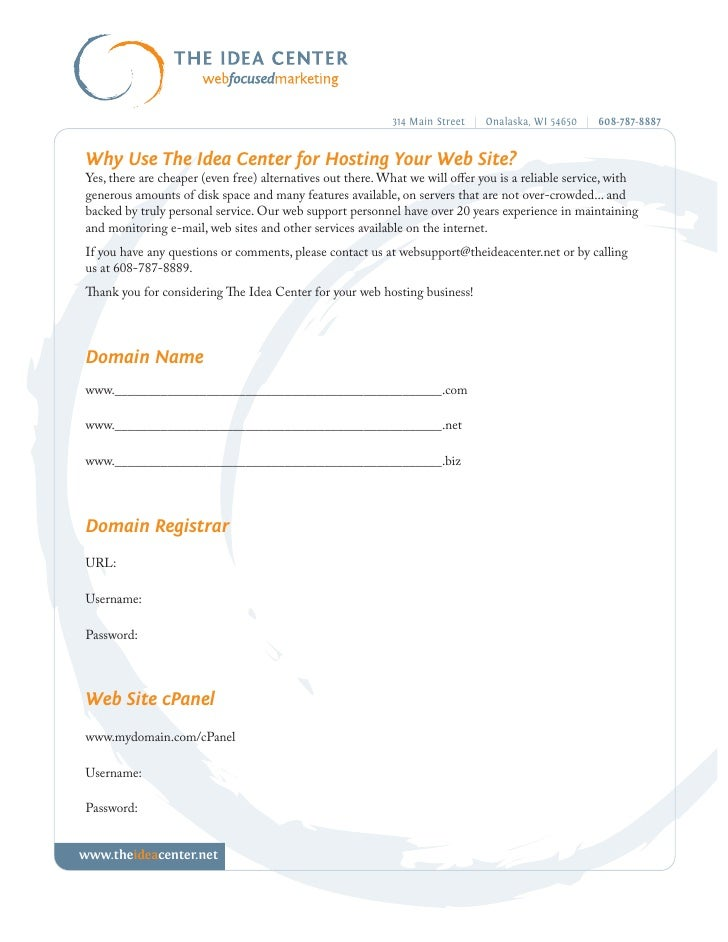 314 Main Street | Onalaska, WI 54650 | 608-787-8887   Why Use The Idea Center for Hosting Your Web Site? Yes, there are ch...