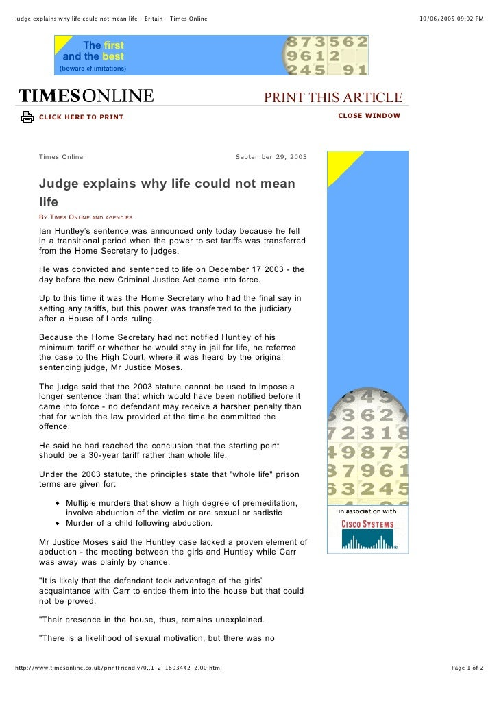 Judge explains why life could not mean life - Britain - Times Online                                       10/06/2005 09:0...