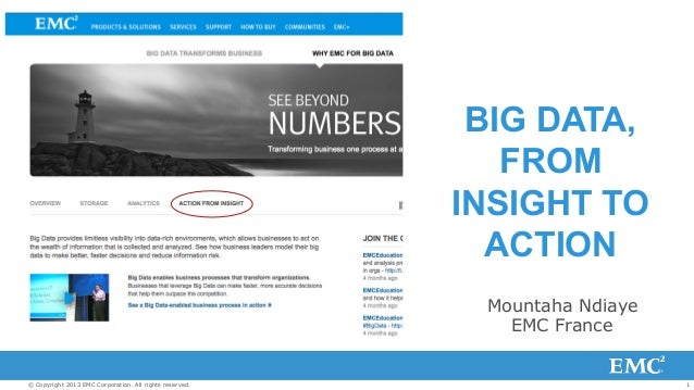 BIG DATA, FROM INSIGHT TO ACTION Mountaha Ndiaye EMC France  © Copyright 2013 EMC Corporation. All rights reserved.  1
