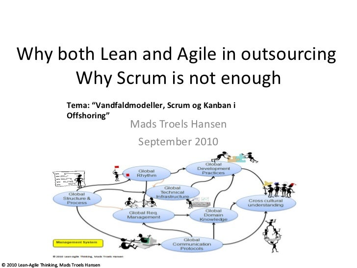 "Why both Lean and Agile in outsourcing  Why Scrum is not enough Mads Troels Hansen September 2010 Tema: ""Vandfaldmodeller,..."
