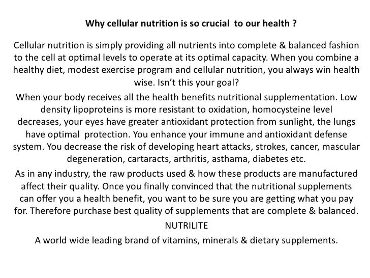Why cellular nutrition is so crucial  to our health ?<br />Cellular nutrition is simply providing all nutrients into compl...
