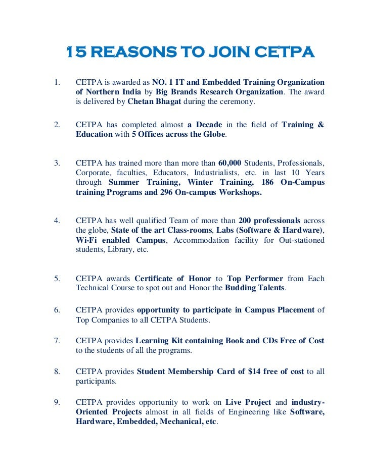 15 REASONS TO JOIN CETPA    1.    CETPA is awarded as NO. 1 IT and Embedded Training Organization          of Northern In...