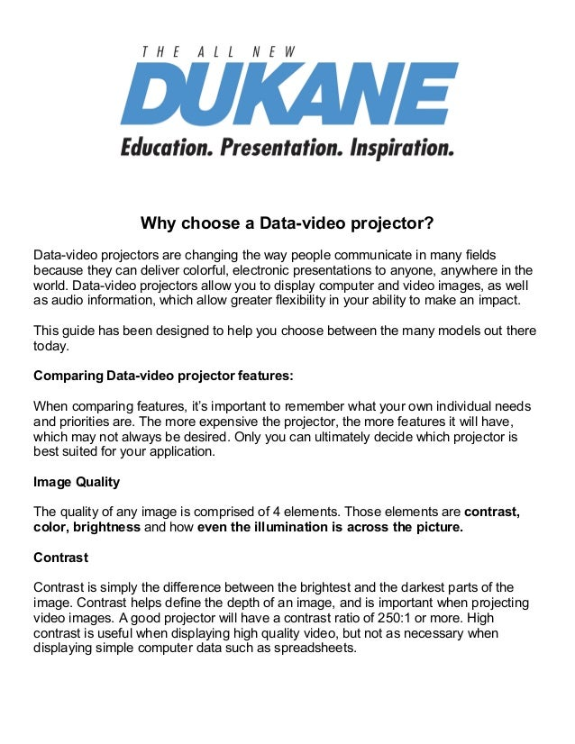 Why choose a Data-video projector?Data-video projectors are changing the way people communicat...
