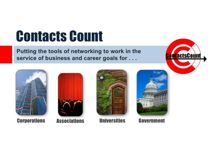 Contacts CountPutting the tools of networking to work in theservice of business and career goals for . . .Corporations   A...
