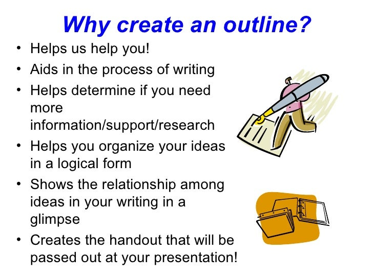Why create an outline? <ul><li>Helps us help you! </li></ul><ul><li>Aids in the process of writing </li></ul><ul><li>Helps...