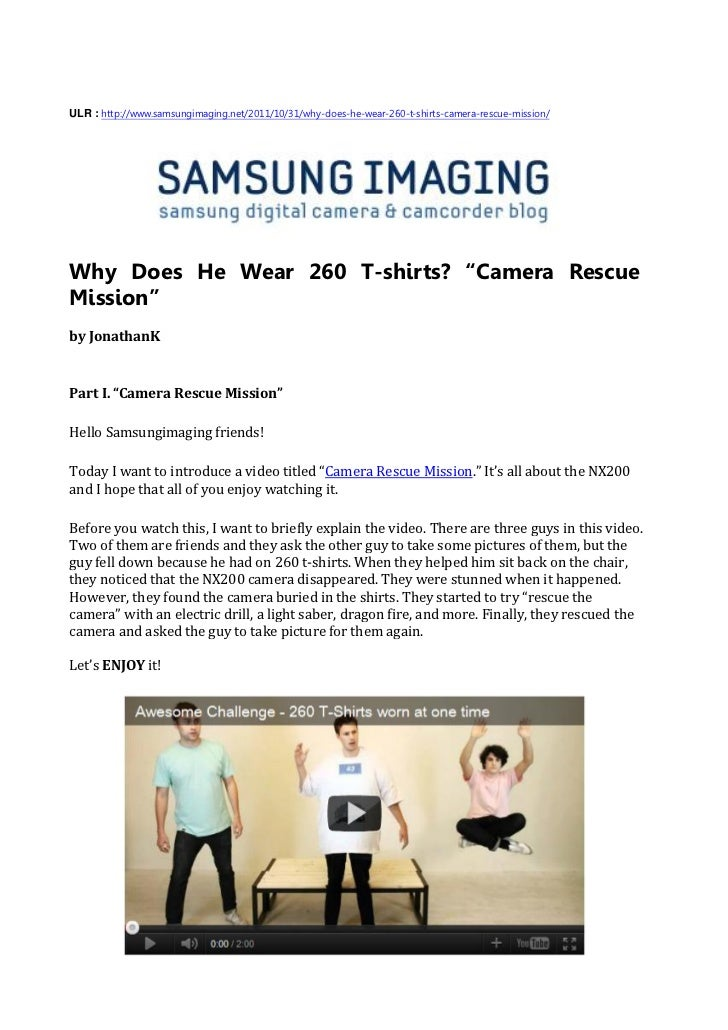 Why Does He Wear 260 T-shirts 'Camera Rescue Mission'(SAMSUNG IMAGING)