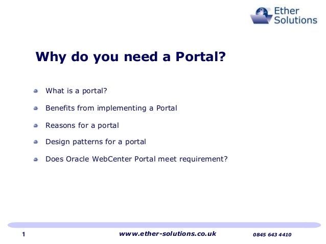 Why do you need a portal?