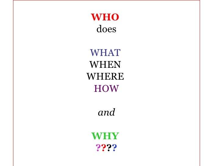<ul><li>WHO   </li></ul><ul><li>does </li></ul><ul><li>WHAT  </li></ul><ul><li>WHEN  </li></ul><ul><li>WHERE  </li></ul><u...