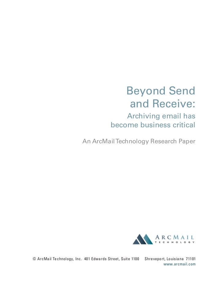 Beyond Send                                                  and Receive:                                             Arch...
