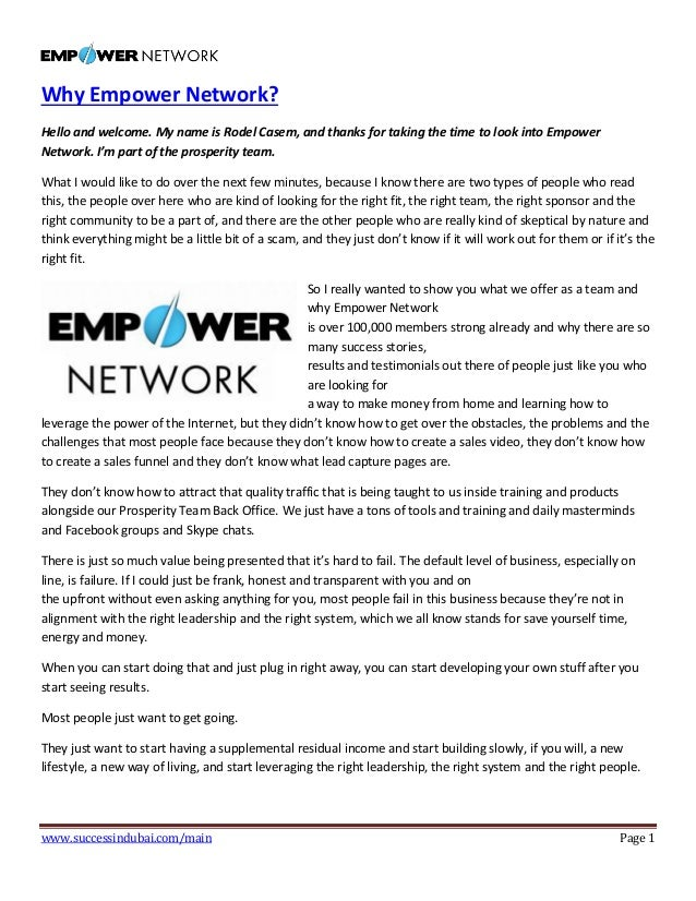 www.successindubai.com/main Page 1 Why Empower Network? Hello and welcome. My name is Rodel Casem, and thanks for taking t...