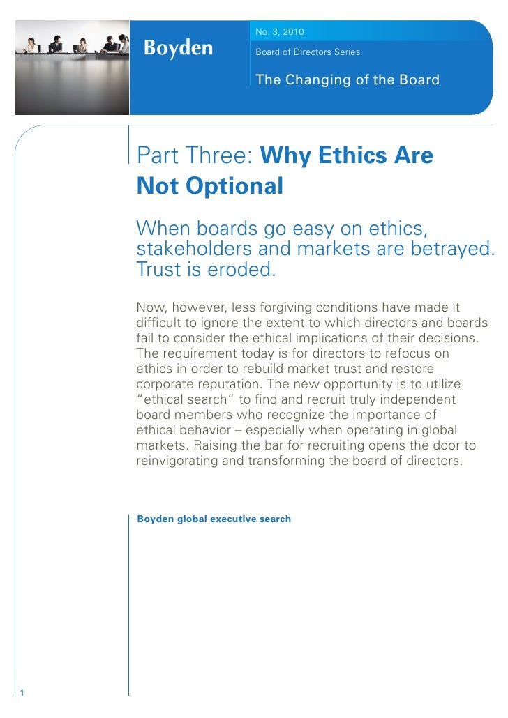 Why Ethics Are Not Optional
