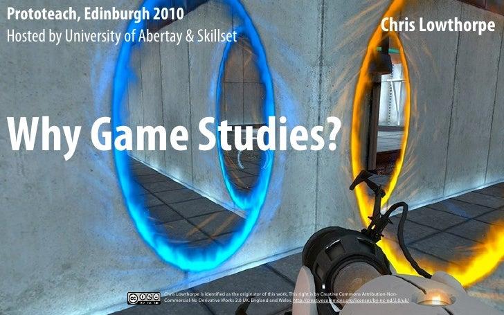 Why game studies