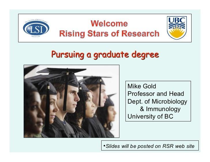 UBC - Why Grad School