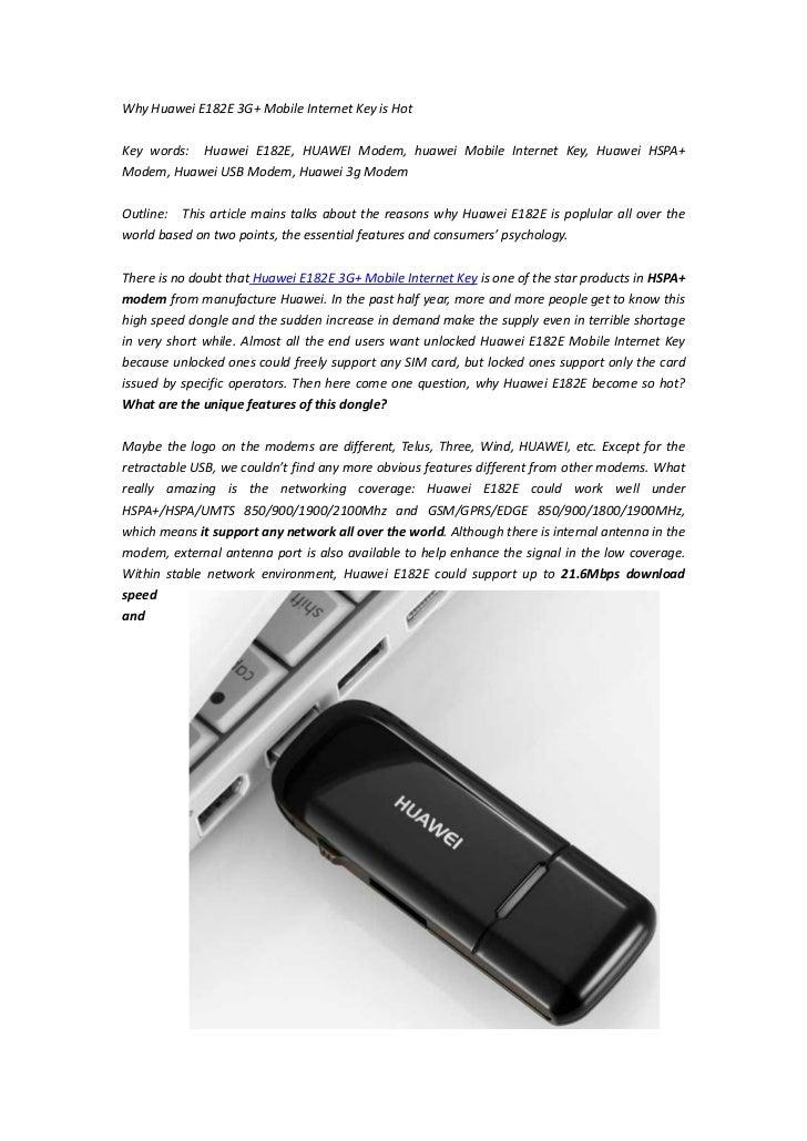 Why Huawei E182E 3G+ Mobile Internet Key is HotKey words: Huawei E182E, HUAWEI Modem, huawei Mobile Internet Key, Huawei H...