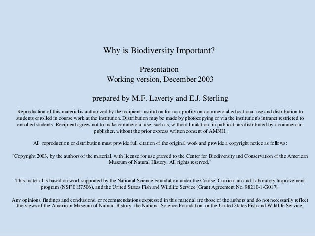 Why is Biodiversity Important?                                                       Presentation                         ...