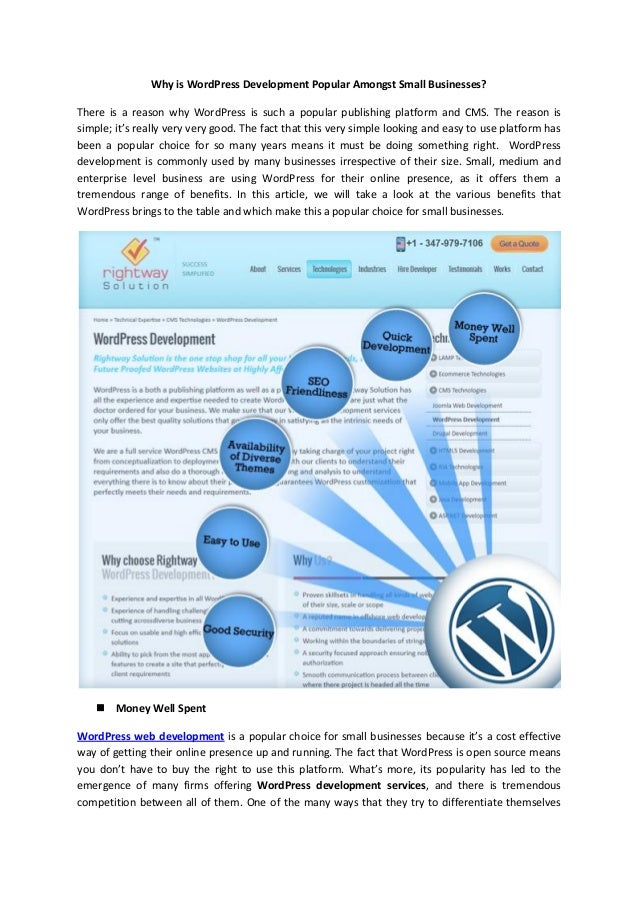 Why is word press development popular amongst small businesses