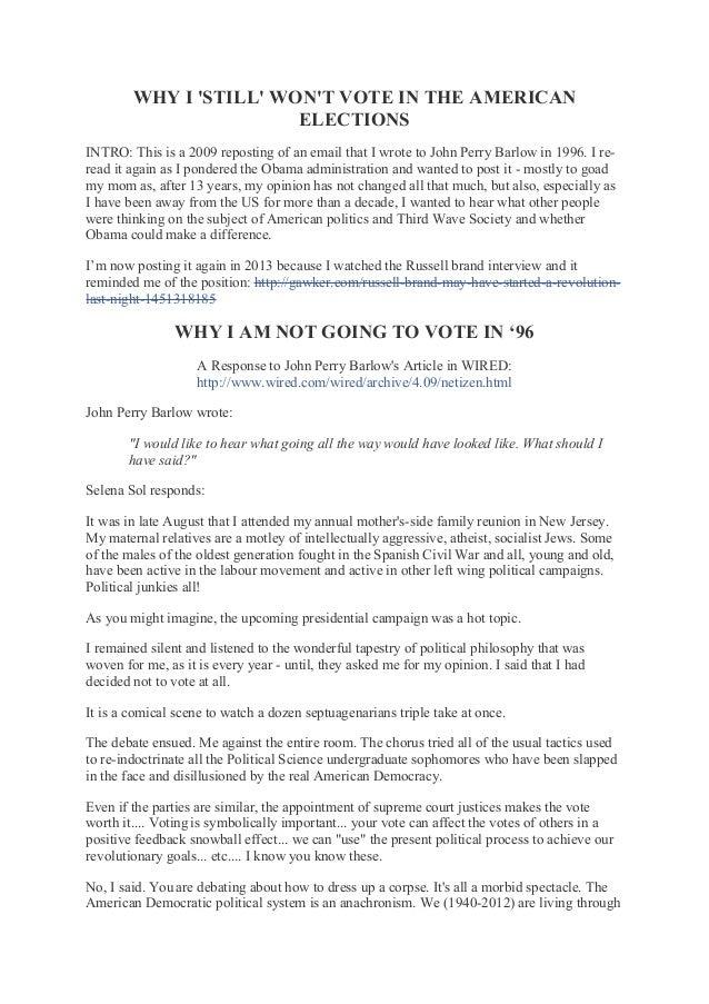 Why I still will not vote