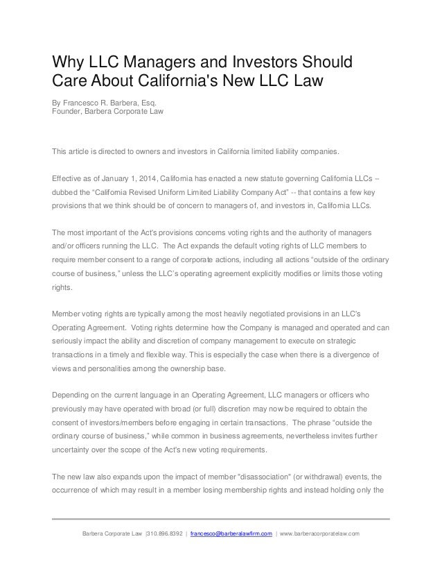 Why LLC Managers and Investors Should Care About California's New LLC Law By Francesco R. Barbera, Esq. Founder, Barbera C...
