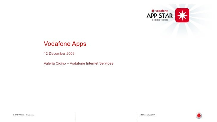 Vodafone Apps                      12 December 2009                       Valeria Cicino – Vodafone Internet Services     ...