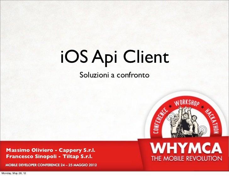 iOS Api Client                               Soluzioni a confronto   Massimo Oliviero - Cappery S.r.l.   Francesco Sinopol...