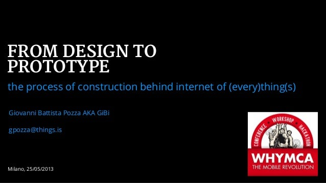 Milano, 25/05/2013FROM DESIGN TOPROTOTYPEthe process of construction behind internet of (every)thing(s)Giovanni Battista P...