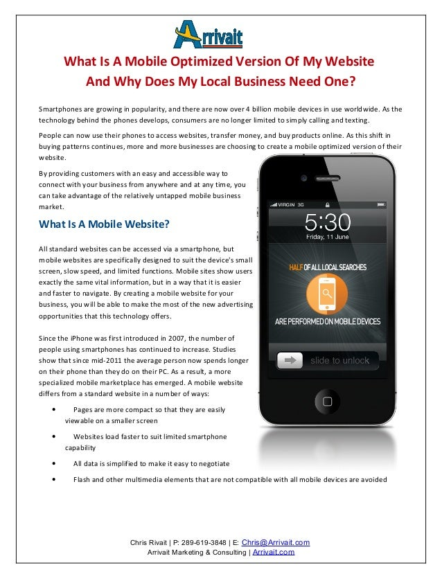 What Is A Mobile Optimized Version Of My Website          And Why Does My Local Business Need One?Smartphones are growing ...
