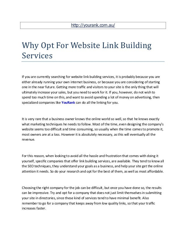 http://yourank.com.au/Why Opt For Website Link BuildingServicesIf you are currently searching for website link building se...