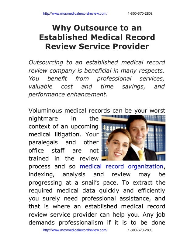 Why outsource to an established medical record review service provider
