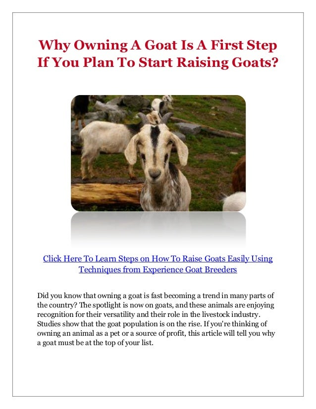 Why Owning A Goat Is A First StepIf You Plan To Start Raising Goats?  Click Here To Learn Steps on How To Raise Goats Easi...