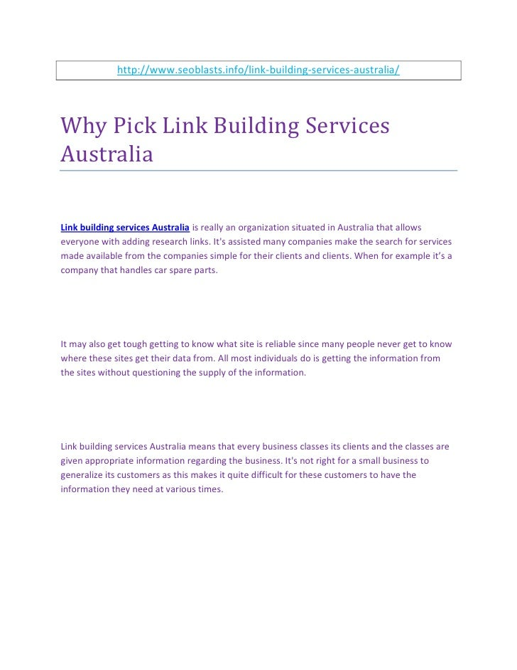 Why pick link building services australia