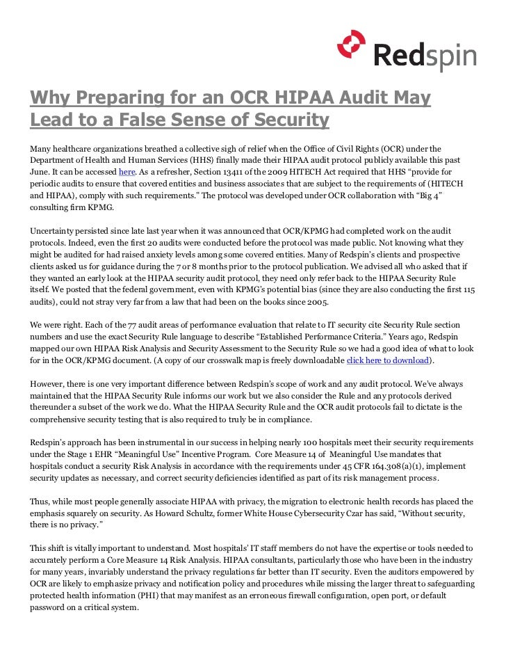 Why Preparing for an OCR HIPAA Audit MayLead to a False Sense of SecurityMany healthcare organizations breathed a collecti...