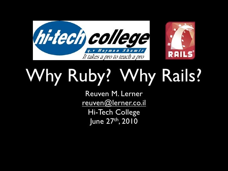 Why ruby and rails