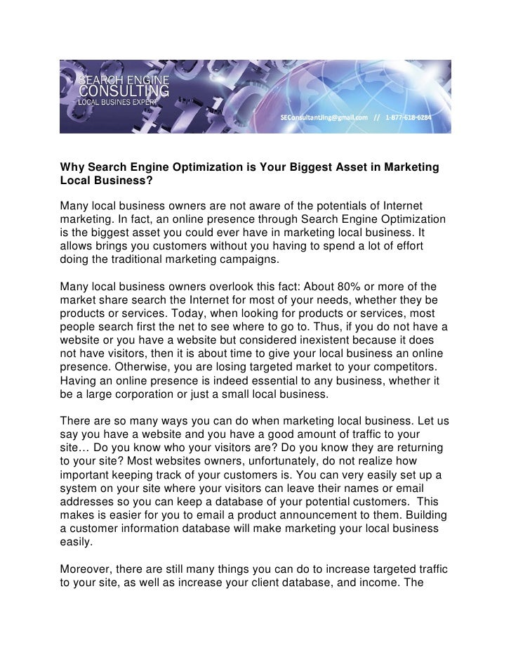 Why Search Engine Optimization is Your Biggest Asset in MarketingLocal Business?Many local business owners are not aware o...