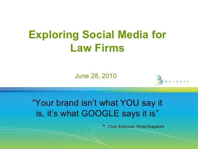 Why Should Big Law do Social Media