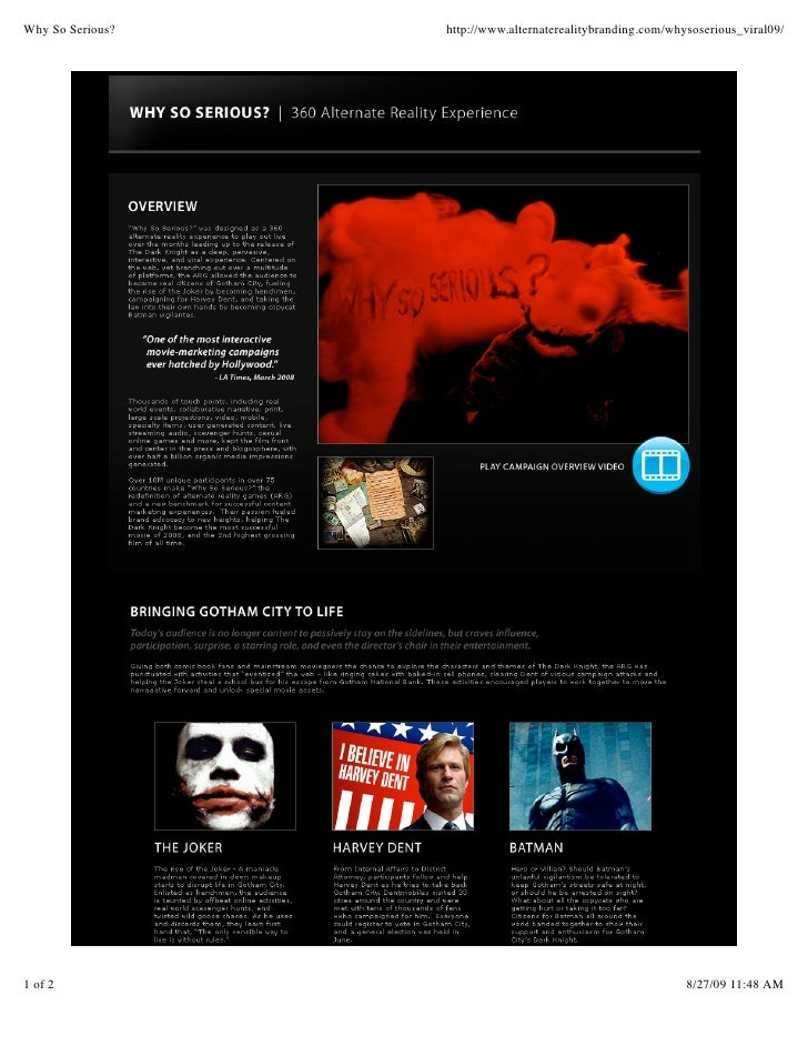 Why So Serious Dark Knight Casestudy