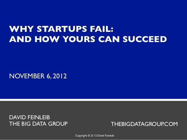 WHY STARTUPS FAIL:AND HOW YOURS CAN SUCCEEDNOVEMBER 6, 2012DAVID FEINLEIBTHE BIG DATA GROUP                               ...