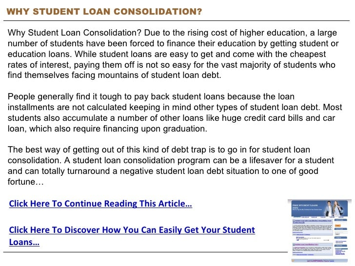 Why Student Loan Consolidation? | Free Student Loans Info