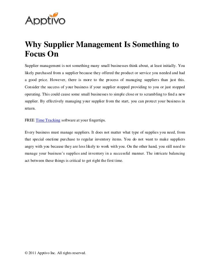 Why Supplier Management Is Something toFocus OnSupplier management is not something many small businesses think about, at ...