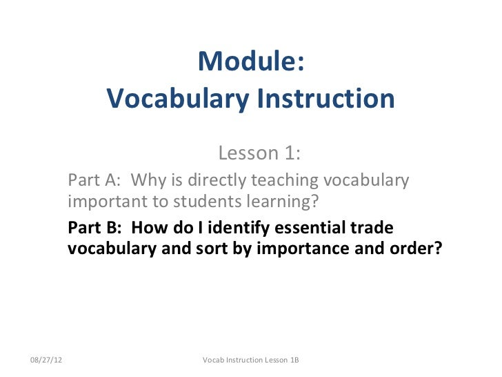 Why teach trade vocab1 b