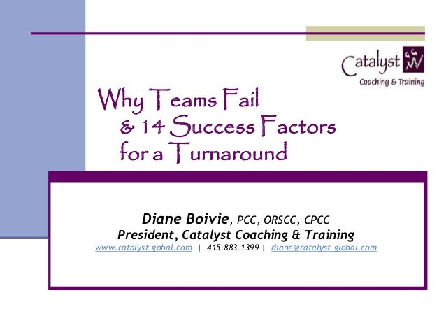 Why Teams Fail & 14 Success Factors for a Turnaround          Diane Boivie, PCC, ORSCC, CPCC     President, Catalyst Coach...