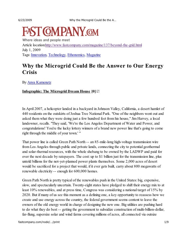 6/23/2009                          Why the Microgrid Could Be the A…       Article location:http://www.fastcompany.com/mag...