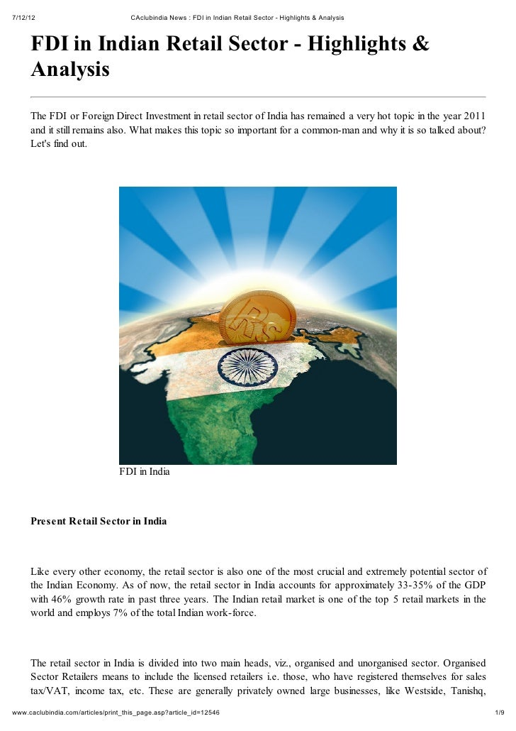 7/12/12                              CAclubindia News : FDI in Indian Retail Sector - Highlights & Analysis     FDI in Ind...