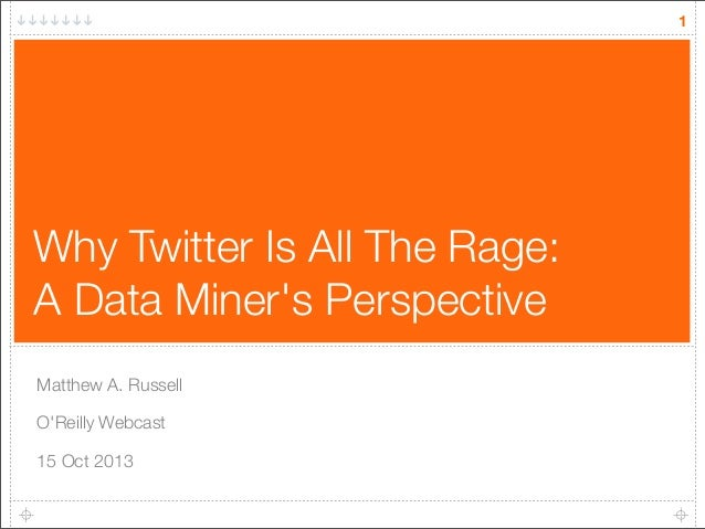 1  Why Twitter Is All The Rage: A Data Miner's Perspective Matthew A. Russell O'Reilly Webcast 15 Oct 2013