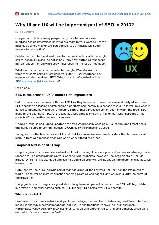 Why UI and UX will be important part of SEO in 2013?