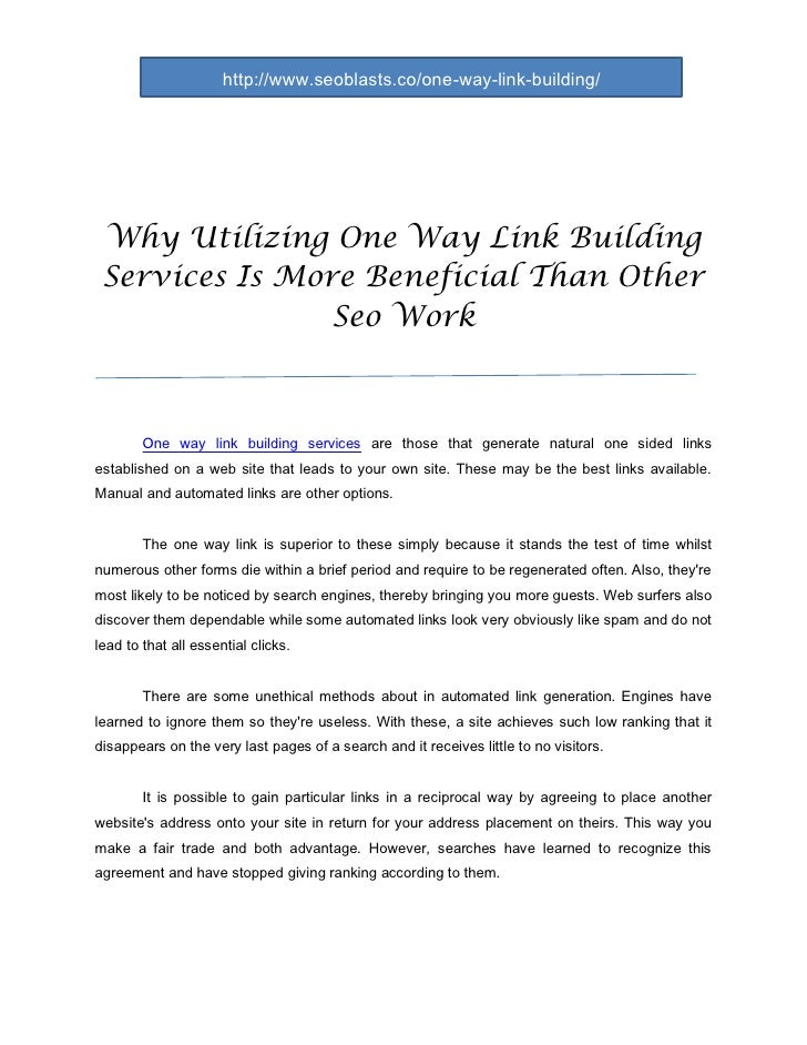 Why utilizing one way link building services is more beneficial than other seo work doc