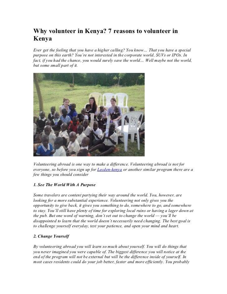 Why volunteer in kenya, 7 reasons to volunteer in kenya