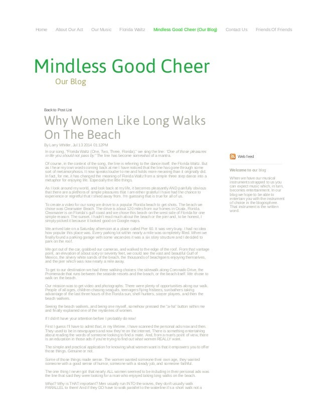 Why Women Like Long Walks on the Beach