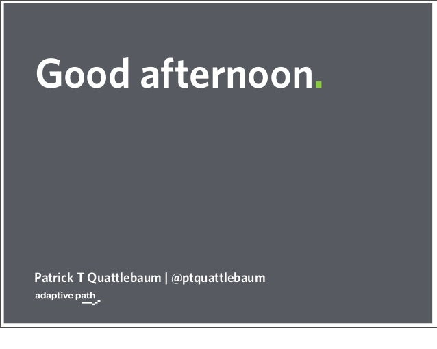Good afternoon.Patrick T Quattlebaum | @ptquattlebaum
