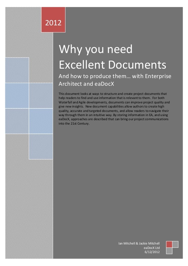 Why you need excellent documents and how to produce them… with Enterprise Architect and eaDocX