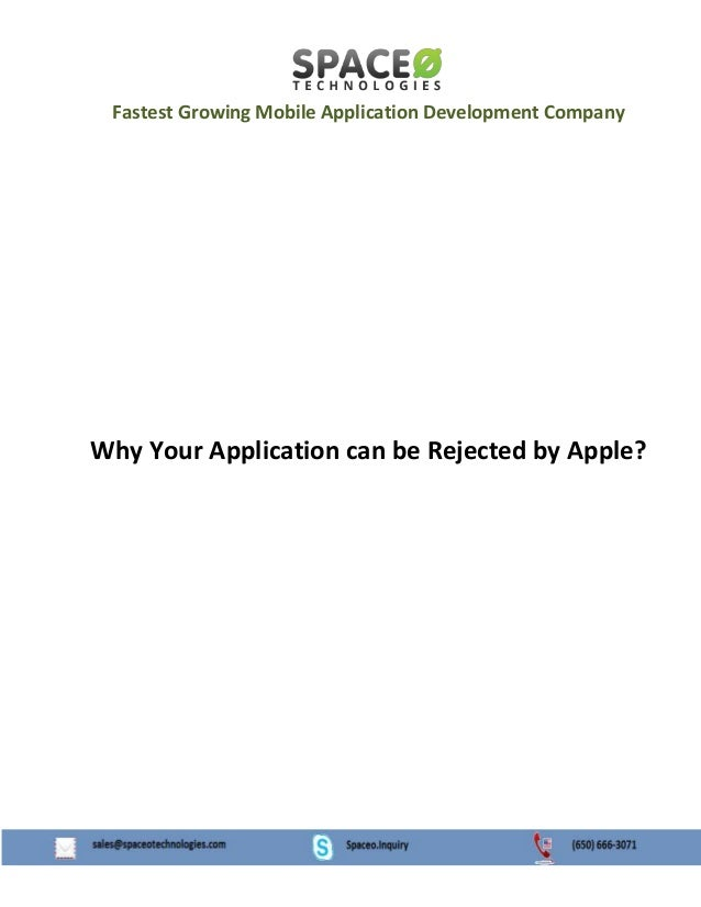 Fastest Growing Mobile Application Development Company  Why Your Application can be Rejected by Apple?